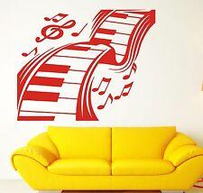 Wall Vinyl Sticker Decal Music Keyboard Keys Music Notes Treble Clef (n193)