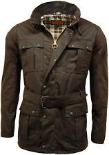 Mens Wax British Made Belted Biker Jacket Brown