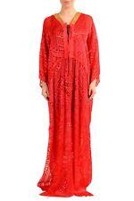 Just Cavalli Silk Red Beads Decorated Women's Maxi Dress Sz 2XS XS S M L XL