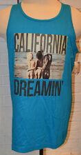 Men's Carbon Blue Cali Dreamin Surfer Sleeveless Tank Top Muscle Shirt L, XL