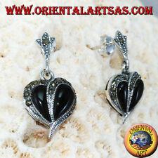 Orecchini In Argento 925 ‰  con onice e marcasite, a forma di cuore