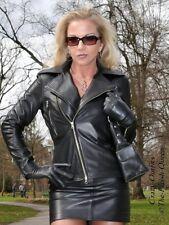 Lederjacke Leder Jacke Schwarz Biker-Style Größe 32 - 58 XS - XXXL