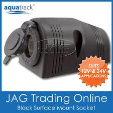 AQUATRACK BLACK SURFACE MOUNT CIGARETTE POWER SOCKET ADAPTER - BOAT/CARAVAN/4x4