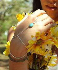 Women lady boho bohemian turquoise finger Hand Wrist band Bracelet Chain gift