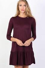Long Sleeve Plain Peplum Hem Mini Dress in Purple