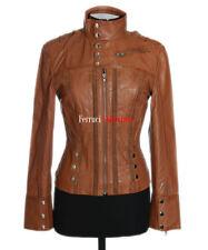 Madison Tan Ladies Women's New Short Retro Real Soft Lambskin Leather Jacket