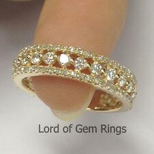 Stackable Brilliant Diamonds Eternity Wedding Anniversary Ring,14K Yellow Gold