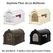 Keystone Fleur de Lis Mailbox - Gaines Cast Aluminum Mail Box & Optional Post