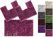 set tappeti bagno tris antiscivolo vari colori doccia bidet water shaggy sarani