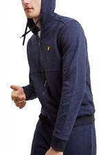 Lyle & Scott Mens Cotton Zip Up Hooded Sweatshirt Top Space Dye Hoodie Navy Blue