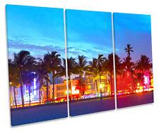 Miami Ocean Drive Beach Night TREBLE CANVAS WALL ART Box Framed Picture