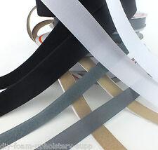FULL ROLLS 25mtrs SEW IN HOOK & LOOP TAPE - BLACK WHITE BEIGE GREY COLOURS