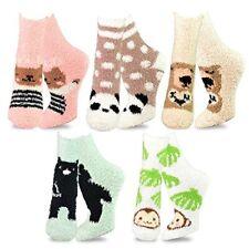 TeeHee Fashionable Cozy Fuzzy Slipper Crew Socks Girl Women 5-Pack