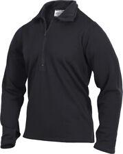 Black Gen III ECWCS Waffle Knit Thermal Underwear Zip Up Collar Top Shirt