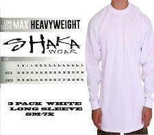 3 PACK Shaka Wear Mens Max Heavyweight Long Sleeve T-shirt White Basic Plain