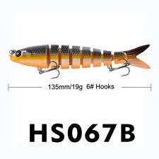 1* 3D Eyes Sinking Fishing Lure 19g Multi Jointed Body Swimbait Crankbait 13.5cm
