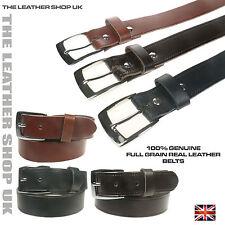 Made In UK 30mm Da Uomo Donna Cuoio Fiore Vera Pelle Cinghie Per