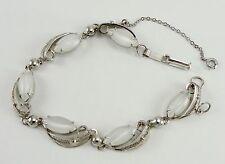 """Sorrento Sterling Silver Bracelet White Fiber Optic Cat Eye Filigree 8-1/2"""""""