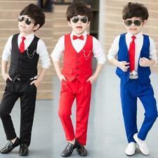 New Wedding Flower Boys Suits Waistcoat Pants 2 Pcs Shcool Child Party Prom Vest