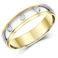 9ct BICOLORE Anello oro bombato diamante matrimonio 5mm/6mm FASCIA