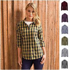 Womens Flannel Check Plaid Long Roll Sleeve Shirt Top Work Casual Lumberjack