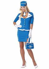 Stewardess Sexy Retro 60's Blue & Wht. 6 Pc Flight Attendant Role Play Costume