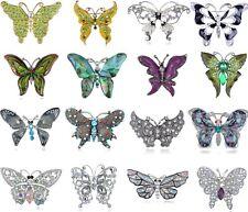 Silver Rhinestone Crystal Purple Enamel Wedding Bridal Butterfly Brooch Pin Gift