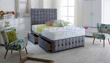 "CUBEX DESIGNER Naple Velvet Storage Divan Bed + LARGE 54"" Height Headboard, UK"