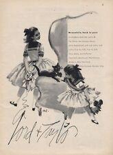 1957 Lord & Taylor Broadcloth Young Girls Dress Fashion ART PRINT AD