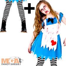 Alice Zombie + Collant Ragazze Costume Paese Delle Meraviglie Horror KID Bambino Costume NUOVO