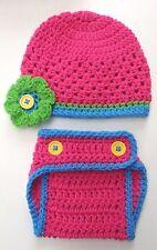 CROCHET FLOWER HAT DAIPER SET baby infant toddler child pink knit photo prop USA