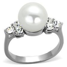 1824 10mm cream pearl STAINLESS STEEL RING NO TARNISH SIMULATED DIAMOND PRETTY