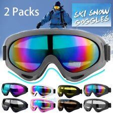 2Packs Ski Goggles Anti Fog Lenses 400 UV Protection For Men Women Kids Skiing