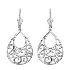 .925 Sterling Silver Filigree Teardrop Tree of Life Heart Drop Earring Set