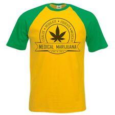 Mens Yellow & Green Medical Marijuana Weed T-Shirt Rasta Mary Jane 420 UK