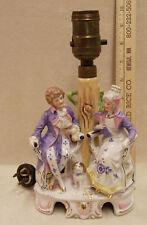 VINTAGE GERMAN PORCELAIN LAMP FANCY MAN & LADY DESIGN