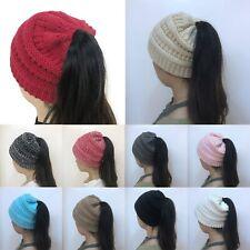 Women Tail Messy Soft Beanie Bun Hat Ponytail Stretchy Knitted Crochet Skull Cap