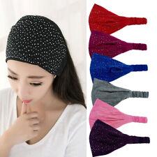 Womens Wide Headband Dance Stretch Hairband Rhinestone Bandeau Headwear Turban