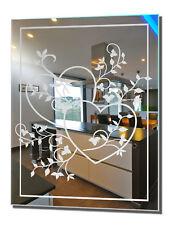 Wohnraumspiegel Herzranke 2 Motivspiegel Spiegel Gravur Wohnzimmer Wandspiegel