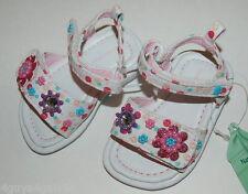 Infant Baby Girls Shoes WHITE SANDALS Polka Dots BEADED FLOWERS Rhinestones SZ 2
