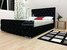 Florida Diamond Fabric Upholstered Bed Frame Black 4'6 Double 5ft King Size