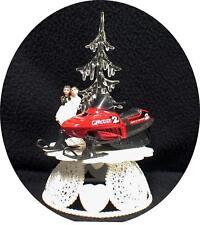 Winter Wonderland Sport SNOWMOBILE Wedding Cake Topper Red ICE Snow tree