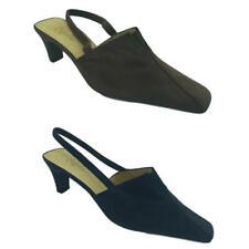 Cefalu Ladies Womens Mid Heel Slingback Brown Suede Pointed Toe Casual Shoes