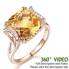 Fine 14K Rose Gold Luxury Anniversary Ring 6 Ct Cushion Yellow Citrine Diamond