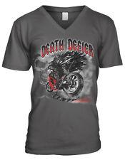 Death Defier Motorcycle Grim Reaper Angel Scythe Riding Of Men's V-Neck T-Shirt