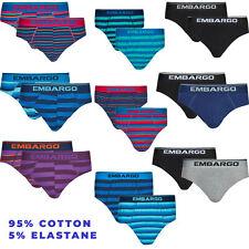 Mens Striped Pants Slips Underpants Briefs Cotton Rich Breathable Underwear 2PK