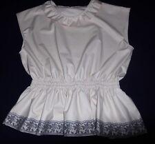 Bluse m. Spitze, Modell CAROLA, Bettstoff 0,45 mm weiß in 4 Größen