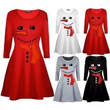 Kids Children Xmas Christmas Snowman Costume Print Girls Carrot Nose Swing Dress