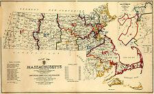 1901 Map Massachusetts Wall Art Poster Print Vintage History Population Census
