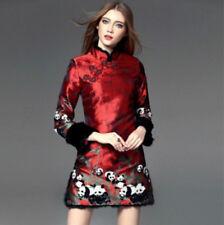 Traditional Winter Slim Fit Women's Chinese Cheongsam Short Cotton Padded Dress